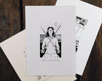 "Two of Swords - 5x7"" tarot print"