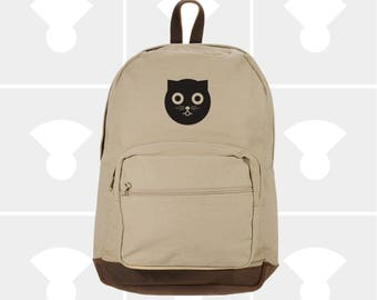 Watson the Cat - Leather Bottom Laptop Backpack