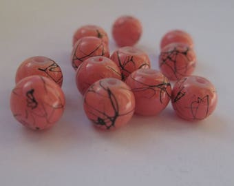 20 salmon beads with black stripes round painted glass 6mm
