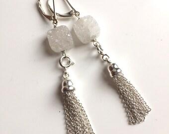 White Druzy Sterling Silver Sugar Tassel Dangle Earrings