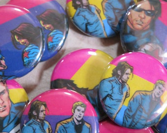 LGBTQIA+ Marvel Superheroes Badges / Pins: Stucky / Bucky Barnes & Steve Rogers (Captain America and The Winter Soldier)