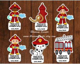 12 Firefighter Favor Tags