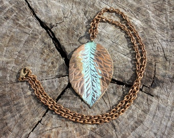 Leaf Necklace - Antiqued Brass Necklace - Solid Brass Leaf Pendant - 18 Inch Solid Brass Chain - Verdigris Patina - Two Feathers Jewelry