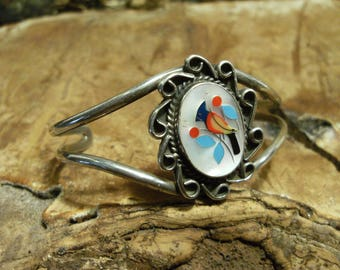 Contemporary Zuni Sterling Silver Cuff Bracelet with Cardinal Inlay on Mother of Pearl Double Shank Cute Bird Animal Jewelry Festival Hippie