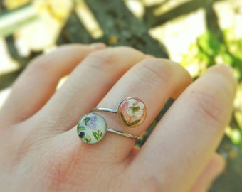 Pressed flower ring/Real flower ring/Nature resin ring/Floral double ring/Dried Alysum/Dried flowers/Chic ring/Easter/Woman gift