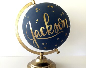 "Custom Constellation Globe with Name - 12"" Hand Painted Globe, Calligraphy Quote, Home Decor Nursery Decor, Shower Gift, Hand Lettered Globe"