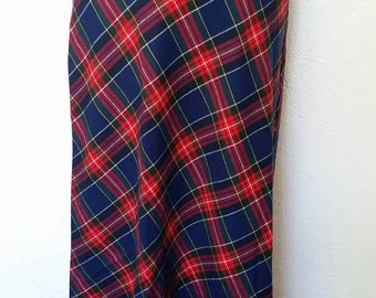 Vintage 1970s Maxi Skirt Tartan Plaid