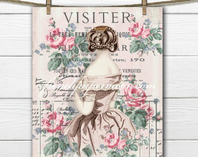 Digital Shabby Edwardian Lady, French Graphics, Elegant French Pillow Image, Fabric Transfer Graphic Download
