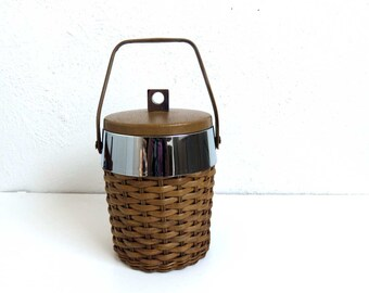 Vintage Wicker Ice Bucket, Mid Century Drink Cooler, Outdoor Summer Party Drinks. BBQ Barbeque. MCM Barware. Man cave gift. Bar Supplies.