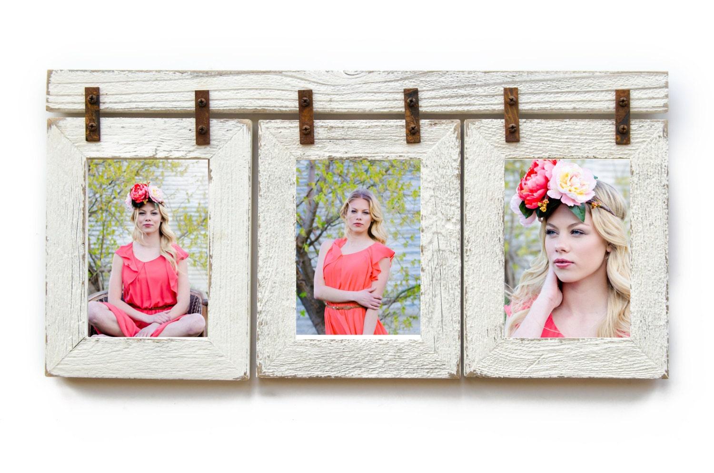 Barnwood Collage marco. 3 4 x 6 marco de apertura múltiple.