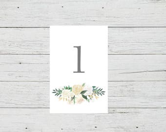Printable Table Number Cards - Romantic Foliage Wedding Table Numbers Printable - Number 1 to 20