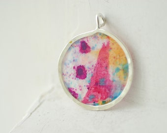 Candyland Necklace, Mini Painting Necklace, Bright Colorful Jewelry, Pink Purple Jewelry, Original Painting Art, Abstract Fun Art, Unique