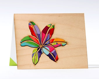 Wood Greeting Card - Lily Flower Card -  Card for Her -  Blank Card - Unique Greeting Card Design - Card with Envelope -