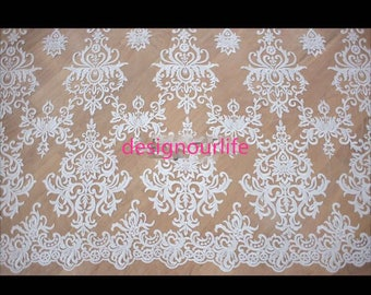 Embroidery corded Lace fabric in off white,lace sell by yard ,wedding lace ,Rococo embroidery lace