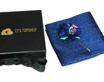 2 in 1 Gift Set - Summer Crush Pocket Square and Lapel Pin