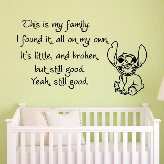 Vinyl Wall Decals Quotes Lilo and Stitch This Is My Family I