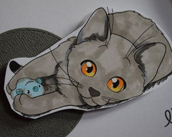 Handmade Card featuring Kitten Cat Playing with Mouse Toy by JessicaLynnOriginal Copic Marker Colored Featured on YouTube Channel