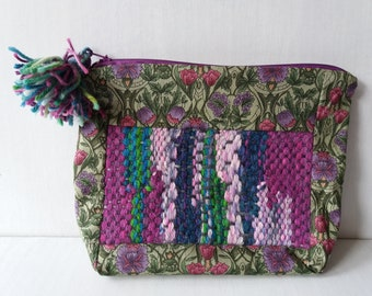 Handwoven and printed cotton pouch bag