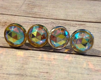The Olivia Earrings Studs in Aurora Borealis, Watercolor Earrings, Vintage Crystal Earrings, Rainbow Jewelry, Watercolor Jewelry