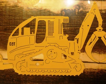 Custom Metal CAT Swing Grapple Tracked Skidder Can be Personalized with Name, Business Address Sign Wall Art, Wall Hanging
