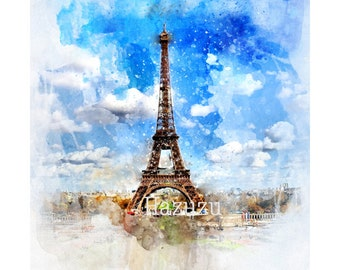 Watercolor Eiffel Tower painting French PNG Paris poster print digital stamp instant download collage journal scrapbooking