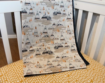 Indian Summer Teepee Blanket - Minky baby blanket