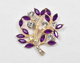 Purple crystal rhinestone wedding brooch pin, AB Rhinestone wedding cake decoration broach pin, brooch bouquet, crystal bridal brooch
