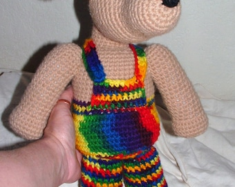 Adorable Dog in Rainbow Overalls MADE To ORDER // Large Crochet Custom Stuffed Dog Plushie
