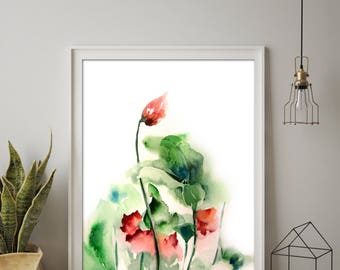 Abstract Flowers Fine Art Print, Abstract Botanical Print, green and red floral watercolor painting print, modern wall art print of flowers
