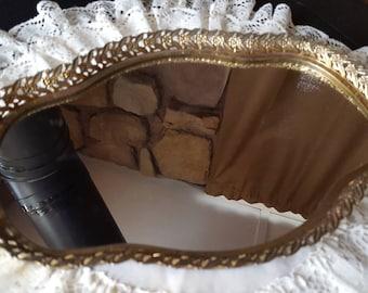 Mirrored Vanity Tray, Vintage, Boudoir Vanity Tray, Hollywood Regency Style, Bath Tray, Filigree, Perfume Tray, Gold Metal Edge,