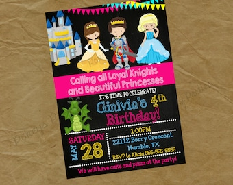 PRINCESS and Brave Knight and Birthday Party Invitation -  dragon girls- Digital Personalized File to Print
