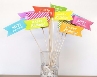 Happy Birthday Flags - 12 pack - Large