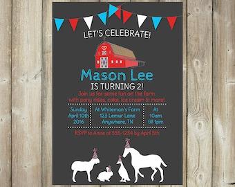 Farm Birthday Invitation - Petting Farm - Pony Rides - Barnyard Birthday - DIGITAL FILE