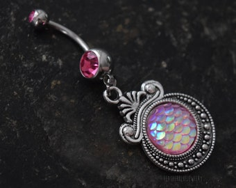 Pink Mermaid Dragon 14g (1.6mm) Navel Gems Belly Ring Piercing Jewelry Accessory