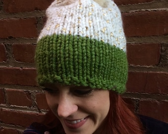 Knit Green, Cream, and Gold Beanie with Genuine Rabbit Fur PomPom