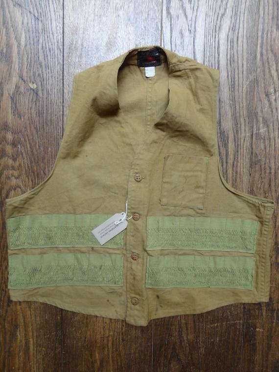 "Vintage JC Higgins Sears Roebuck 1950s 1960s cotton canvas tin cloth hunting shooting vest 44"" chest USA (3)"