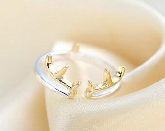 ANTLER PINKIE RING, sterling silver, little finger ring, birthday gift. graduation gift,Gift for her, mother's day gift, deer ring
