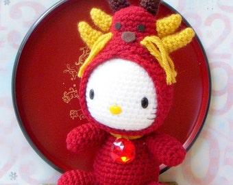 Amigurumi Pattern - Zodiac Dragon Kitty- Crochet amigurumi toy doll tutorial PDF