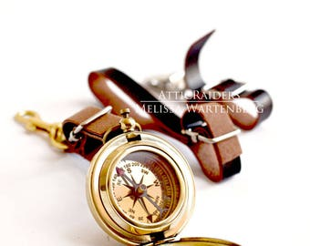 Steampunk Compass Set , Compasses , Nautical Accessory , Travel Accessories , Travel , Steampunk Jewelry , Leather Keychain , Mens Jewelry