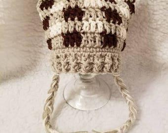 Crochet Plaid Animal Beanie with Ears and Braids