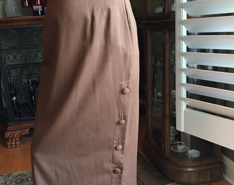 Vintage Long Skirt Willow Ridge Side Button-up Brown Skirt