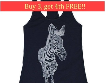 Womens Tank Tops Funny - Photographer Tank Tops - Photographer Gifts - Workout Tank Tops - Womens Funny Tank Tops - Zebra Shirt - Blue Tanks