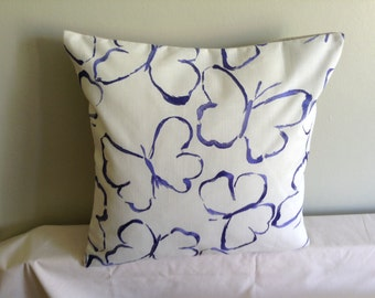 "16"" Handmade contemporary modern blue, cream embroidered butterfly cushion cover,  pillow, scatter cushion."