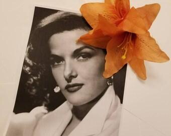 Orange Coral Cali Lillie's Hair Flower Wedding Hair Accessories Pin Up Rockabilly