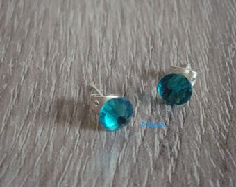 Bullet earrings with swarovski 7 mm turquoise cabochon