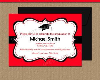Printable Graduation Invitation Template Black Red High School Graduation Invitation 2018 Graduation Invites Printable Graduation Sign G1