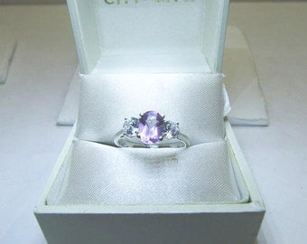 JC 925 Amethyst And Crystal Ring / Natural Oval Amethyst And Crystal Ring / Ladies Size 6 1/2