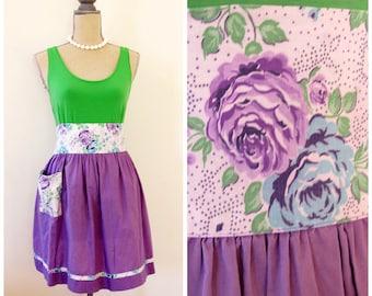 50s Purple Floral Print Apron