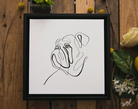 One Line Art Animation : Bulldog canvas art print gift one line