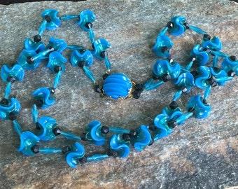 Blue Beaded Necklace, Retro Necklace, Double Strand Blue Necklace